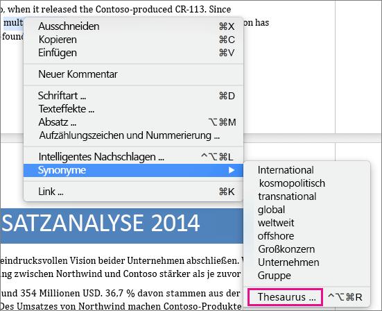 Suchen Nach Synonymen Mit Dem Thesaurus In Word 2016 Für Mac Word