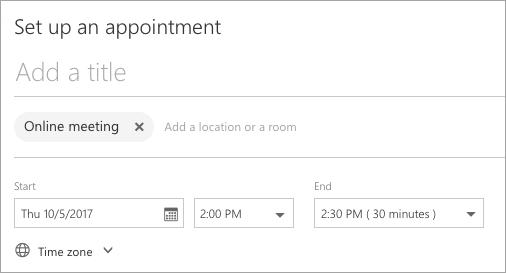 """Seite """"Set up an appointment"""" (Termin einrichten)"""