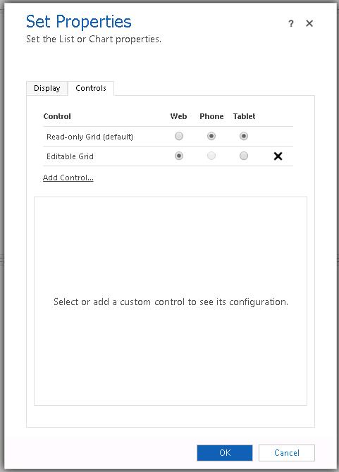 Benutzerdefinierte Steuerelement Konfiguration für das unter Raster nur für Web Form Factor