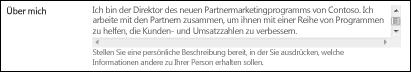 """Feld """"Über mich"""" im Benutzerprofil"""