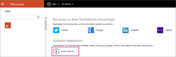 """Wählen Sie """"Import starten"""" aus, um auszuwählen, von wo Sie die Kontakte importieren möchten."""