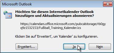 Dialogfeld zum Hinzufügen aller Internetkalender zu Outlook