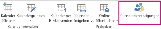 Schaltfläche 'Kalenderberechtigungen' auf der Outlook 2013-Registerkarte 'Start'