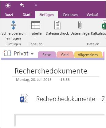 Screenshot: Einfügen eines neuen Visio-Diagramms in OneNote2016
