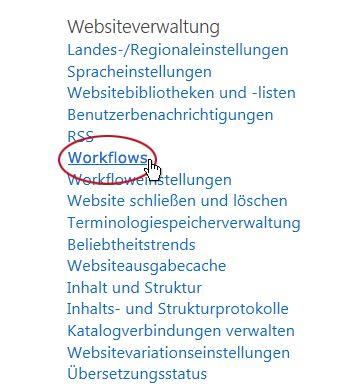Link 'Workflows' unter der Überschrift 'Websiteverwaltung'