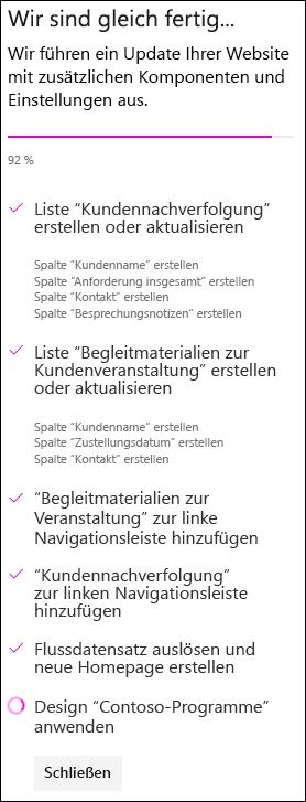 Teamwebsite mit benutzerdefiniertem Designstatus