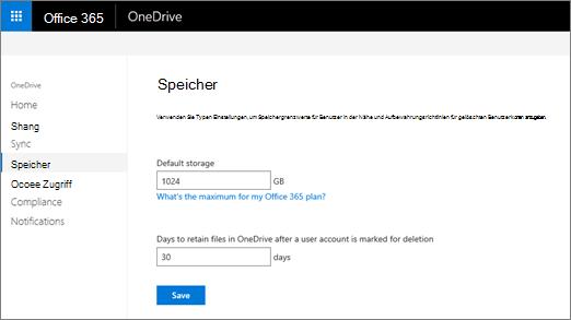 """Registerkarte """"Speicher"""" im OneDrive Admin Center"""