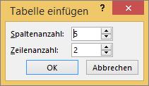 Abbildung des Dialogfelds 'Tabelle einfügen' in PowerPoint