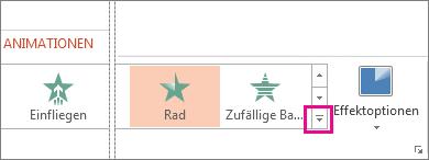 Schaltfläche 'Mehr' auf der Registerkarte 'Animationen'