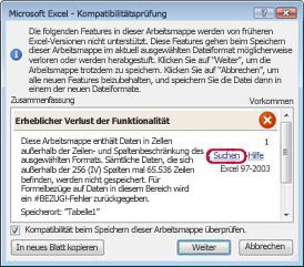 Kompatibilitätsprobleme bei Arbeitsblättern - Excel