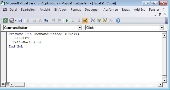 Eine Sub-Prozedur im Visual Basic-Editor