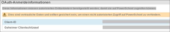 """Wählen Sie """"Datenkonfiguration"""" aus, um die OAuth-Anmeldeinformationen für das Plug-In anzuzeigen"""