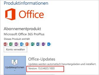 Office-Version bei Office-Updates