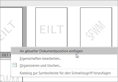 Klicken Sie mit der rechten Maustaste auf die Miniaturansicht des Wasserzeichens, die den Befehl an aktueller Dokument Position einfügen anzeigt.
