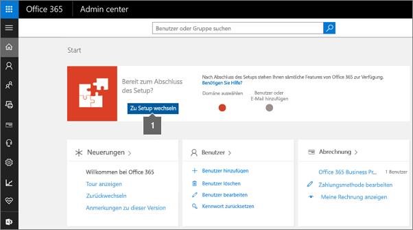 """Klicken Sie auf der Office 365-Administratorseite auf """"Setup"""""""