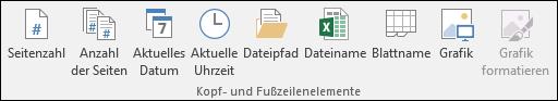 """Option """"Kopf- und Fußzeilen"""" auf der Registerkarte """"Entwurf"""""""