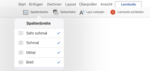 """Spaltenbreite""-Optionen in Lerntools"