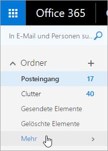 """Ein Screenshot, auf dem der Cursor auf die Schaltfläche """"Weitere"""" im Navigationsbereich in Outlook im Web zeigt"""