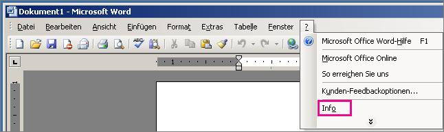 """""""Hilfe"""" > """"Info"""" in Word 2003"""