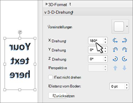 WordArt mit einer Drehung von 180 Grad