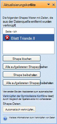 Aktualisieren Sie das Konfliktefenster, in dem Shapes aufgeführt werden, die keine entsprechende Zeile mehr in der Datenquelle besitzen.