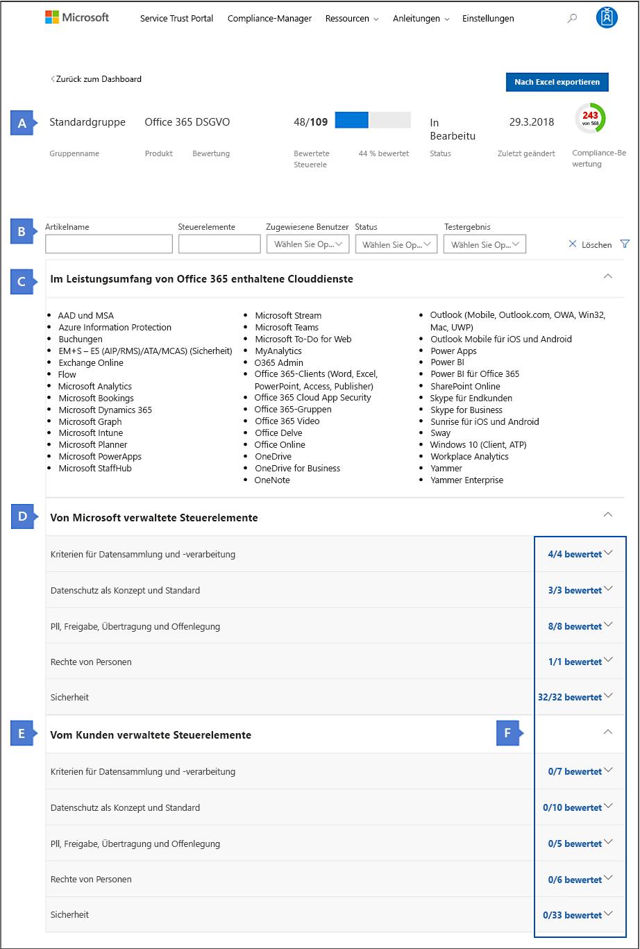 """Ansicht """"Compliance-Manager-Bewertung"""" – Vollbild mit Popups"""