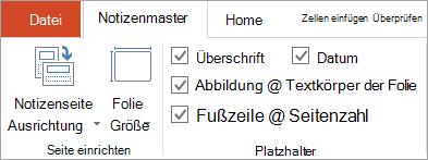 Kontrollkästchen Platzhalter, klicken Sie auf der Registerkarte ' Notizenmaster '