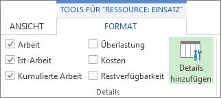 Tools für 'Ressource: Einsatz', Registerkarte 'Format', Schaltfläche 'Einzelheiten hinzufügen'