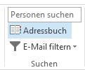 """Das Adressbuch befindet sich auf der rechten Seite der Registerkarte """"Start""""."""