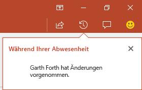 PowerPoint für Office 365 zeigt Ihnen, wer während Ihrer Abwesenheit Änderungen an Ihrer freigegebenen Datei vorgenommen hat.
