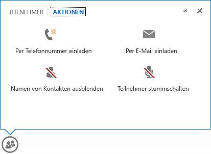 Bildschirmfoto des Menüs, das bei einem Zeigen auf ein Personensymbol angezeigt wird (mit ausgewählter Registerkarte 'Aktionen')