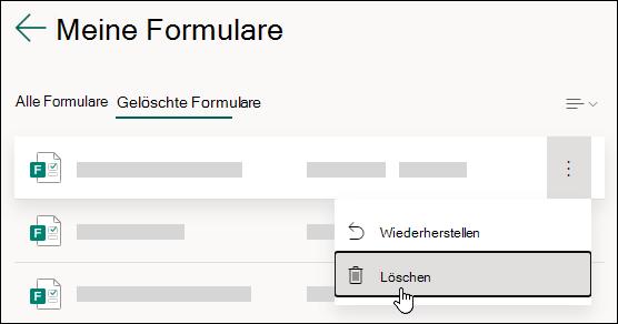 Löschen eines Formulars auf der Registerkarte Gelöschte Formulare von Microsoft Forms