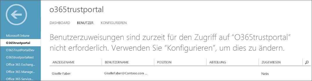 Zeigt Azure AD mit für die Dienstvertrauensstellung aufgelisteten Benutzern.