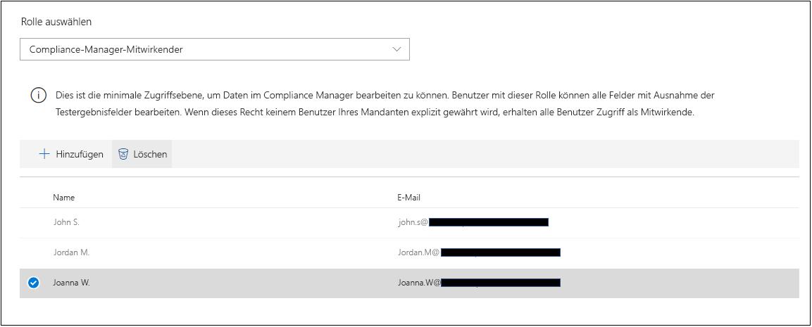 Compliance-Manager – Bereitstellungsrollen – Benutzer entfernen