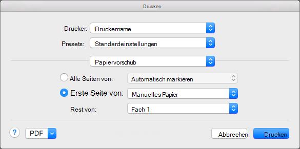 """Wenn Sie im Dialogfeld """"Drucken"""" die Option """"Papiereinzug"""" auswählen, können Sie die Papierzufuhr auswählen."""