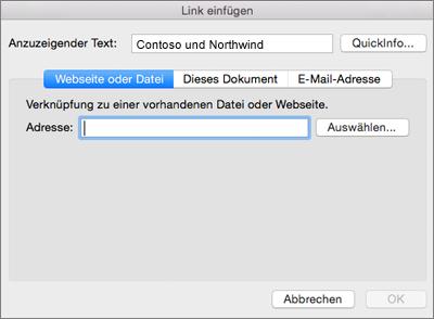 Zeigt die Optionen zum Einfügen eines Links zu einer Webseite, einer E-Mail-Adresse oder einem Dokument an.
