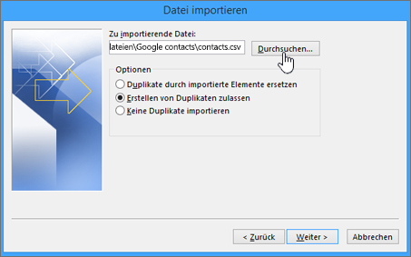 """Navigieren Sie zur Datei """"contacts.csv"""", und wählen Sie aus, wie doppelte Kontakte verarbeitet werden sollen."""