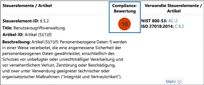 Compliance-Manager – Bewertungssteuerelement für hohen Schweregrad – Score 10