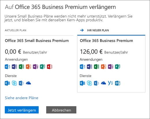 Verlängern von Office 365 Small Business Premium Lizenzen - Office 365