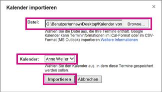 Google Calendar - Dialogfeld 'Kalender importieren'