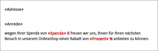 """Beispiel für ein Seriendruckdokument, in dem dem Feld """"Spende"""" ein Eurozeichen vorangestellt und dem Feld """"Prozent"""" ein Prozentzeichen nachgestellt ist."""