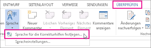 Festlegen einer Sprache für die Korrekturhilfen in Word2013