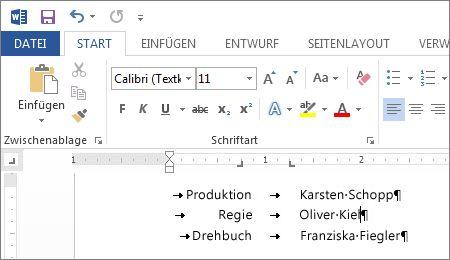 Text mit benutzerdefinierten Tabstopps