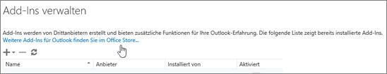 """Screenshot eines Abschnitts der Seite """"Add-Ins verwalten"""" mit einer Auflistung der installierten Add-Ins und dem Link """"Weitere Add-Ins für Outlook erhalten Sie im Office Store""""."""