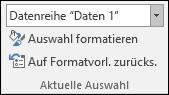 """Auswählen einer Datenreihenoption unter """"Diagrammoptionen"""" > """"Format"""" > """"Aktuelle Auswahl"""""""