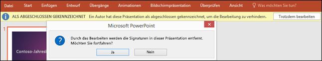 """Klicken Sie auf """"Trotzdem bearbeiten"""", um eine digitale Signatur von Ihrer Datei zu entfernen."""