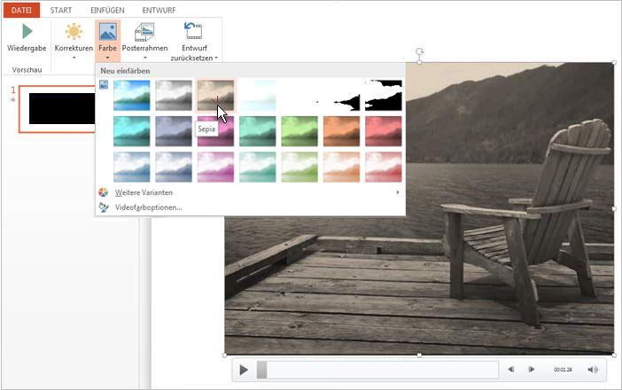 Ändern der Farbe von Videomaterial