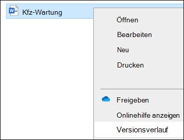 """Menü """"Datei-Explorer"""", einschließlich der Option Versionsverlauf."""