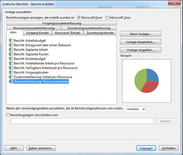 Liste der grafischen Excel-Berichtsvorlagen im Dialogfeld 'Berichte anzeigen'