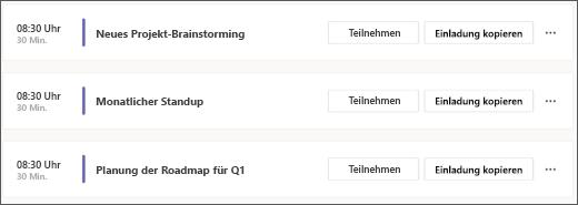 Ein Screenshot des Agenda-Kalenders im kostenlosen Teams
